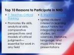 top 10 reasons to participate in nhd3