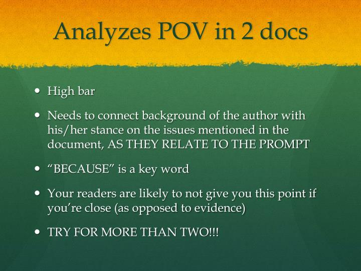 Analyzes POV in 2 docs