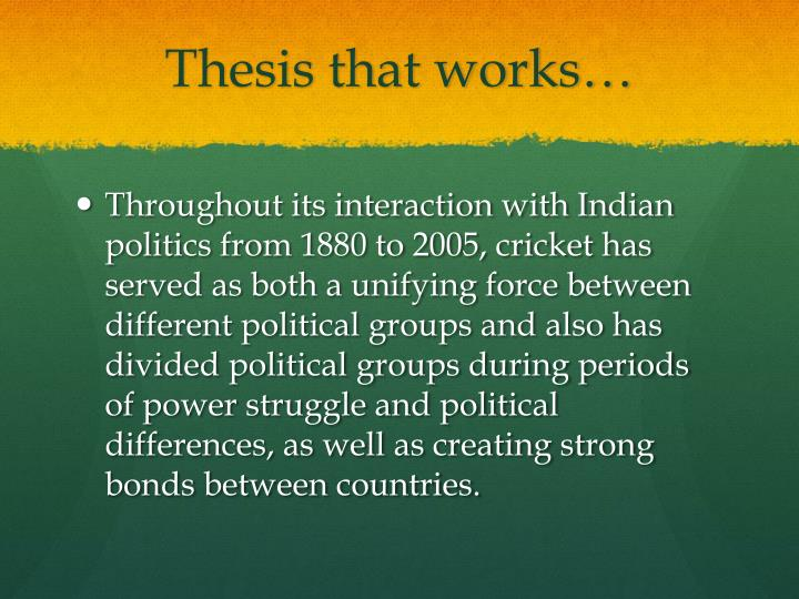 Thesis that works