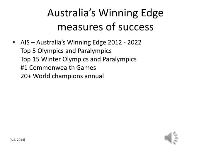 Australia s winning edge measures of success