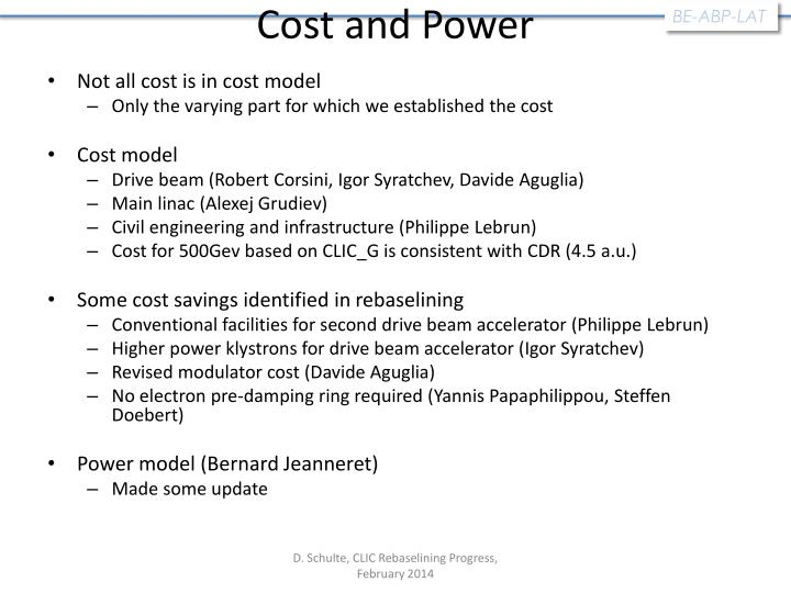 Cost and Power
