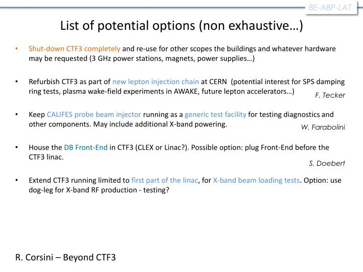 List of potential options (non exhaustive…)