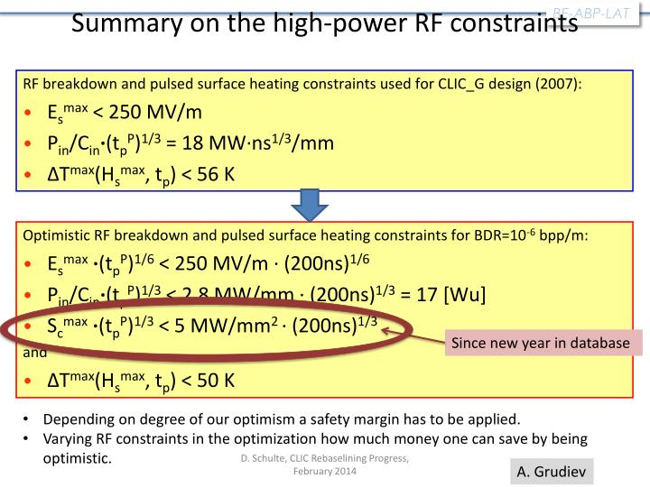 Summary on the high-power RF constraints