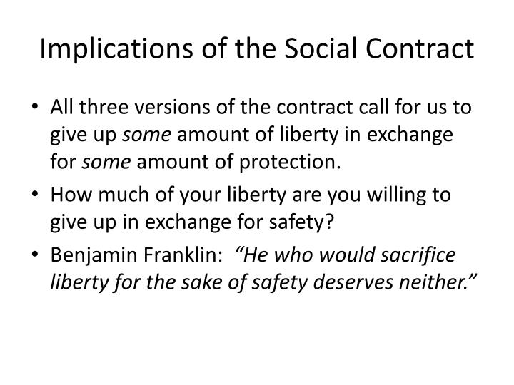 Implications of the Social Contract