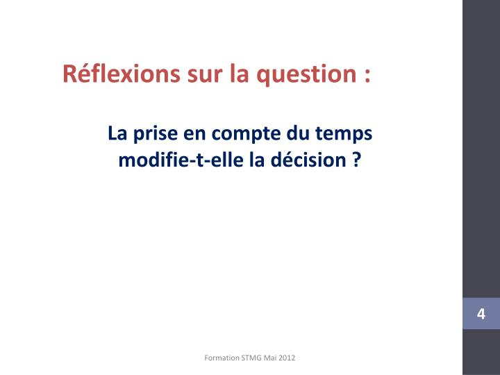 Réflexions sur la question :