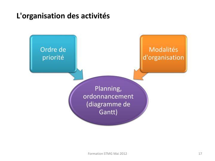 L'organisation des activités