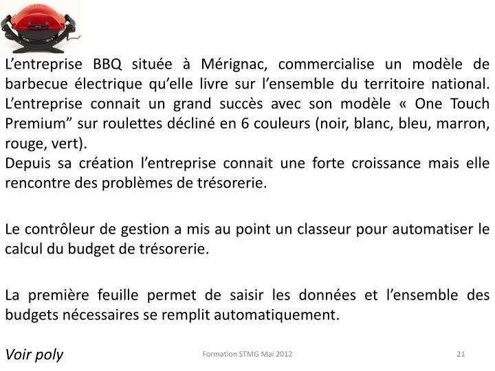 L'entreprise BBQ située à Mérignac, commercialise un modèle de barbecue électrique qu'elle livre sur l'ensemble du territoire national. L'entreprise connait un grand succès avec son modèle «One