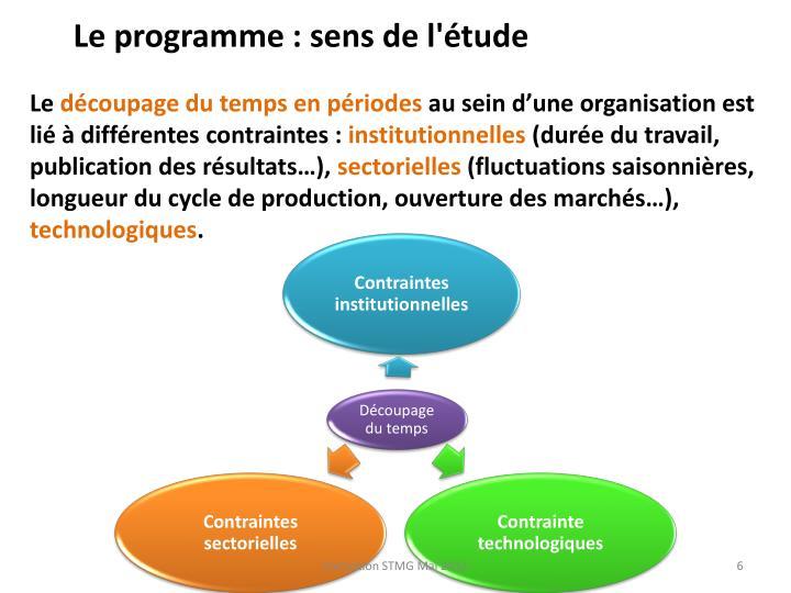 Le programme : sens de l'étude