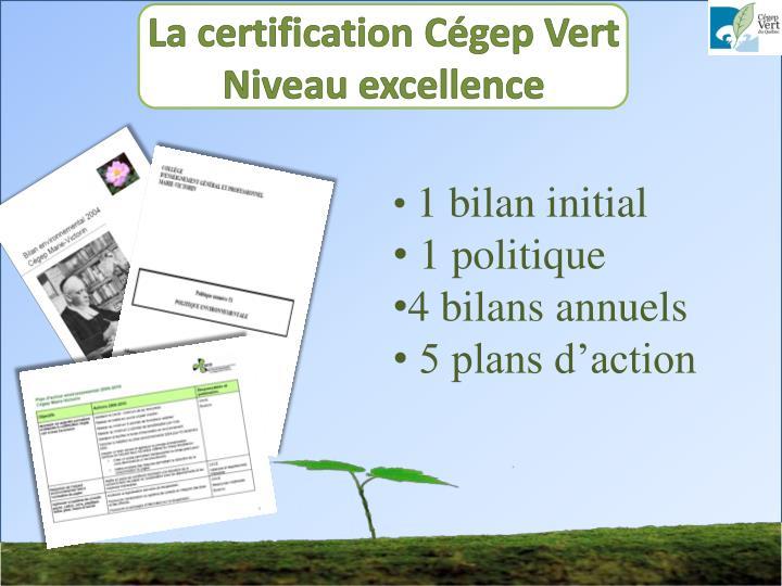 La certification Cégep Vert
