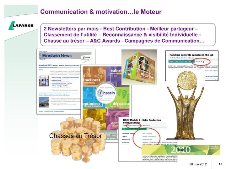 2 Newsletters par mois - Best Contribution - Meilleur partageur – Classement de l'utilité – Reconnaissance & visibilité Individuelle - Chasse au trésor – A&C