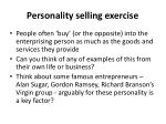 p ersonality selling exercise