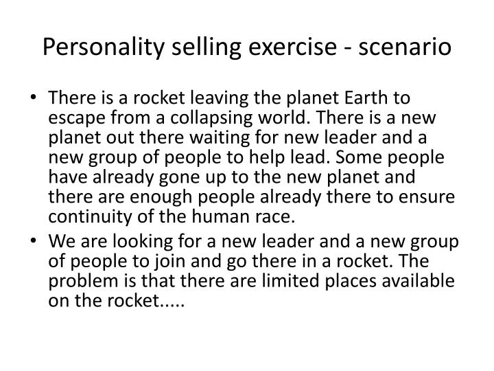 Personality selling exercise - scenario