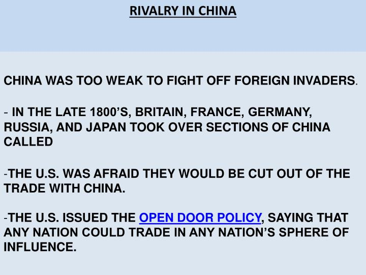 RIVALRY IN CHINA