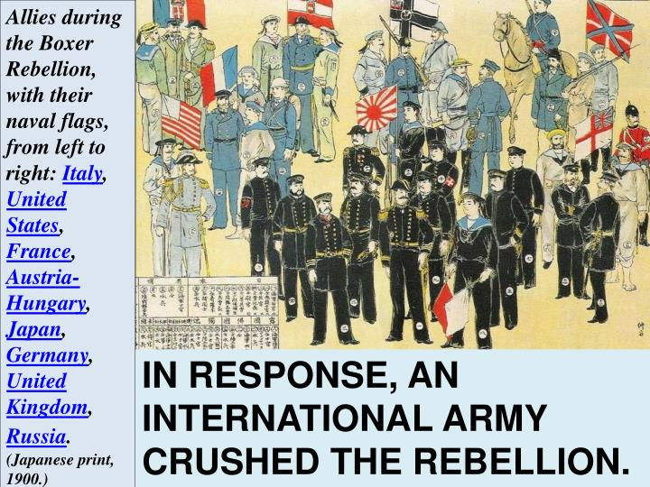 Allies during the Boxer Rebellion, with their naval flags, from left to right:
