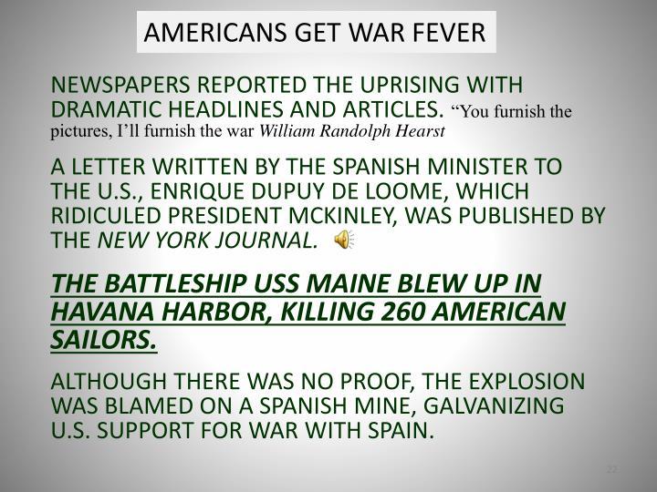 AMERICANS GET WAR FEVER