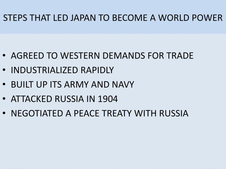 STEPS THAT LED JAPAN TO BECOME A WORLD POWER