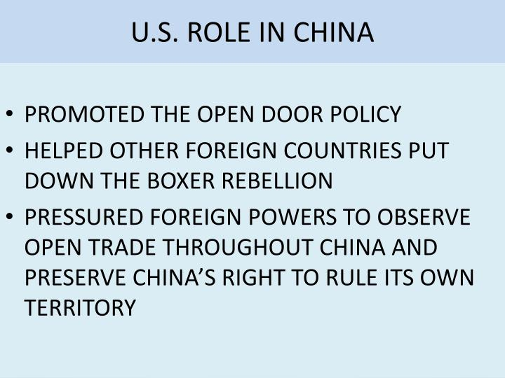 U.S. ROLE IN CHINA