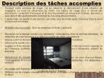description des t ches accomplies