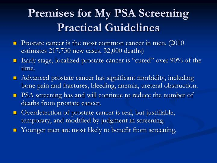 Premises for My PSA Screening Practical Guidelines