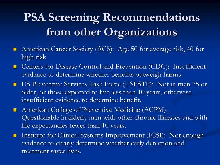 PSA Screening Recommendations from other Organizations