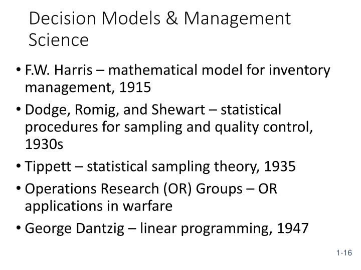 Decision Models & Management Science