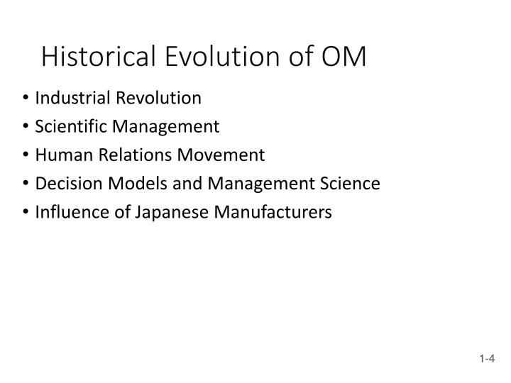 Historical Evolution of OM