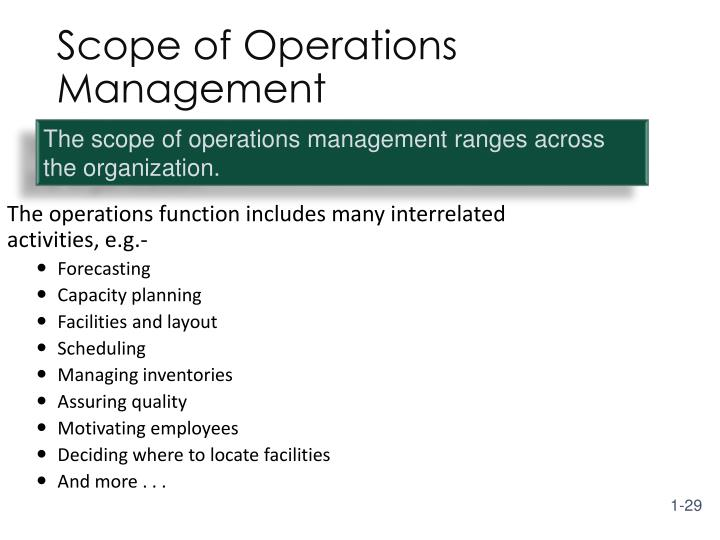 The operations function includes many interrelated activities, e.g.-