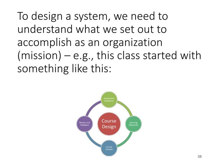 To design a system, we need to understand what we set out to accomplish as an organization (mission) – e.g., this class started with something like this: