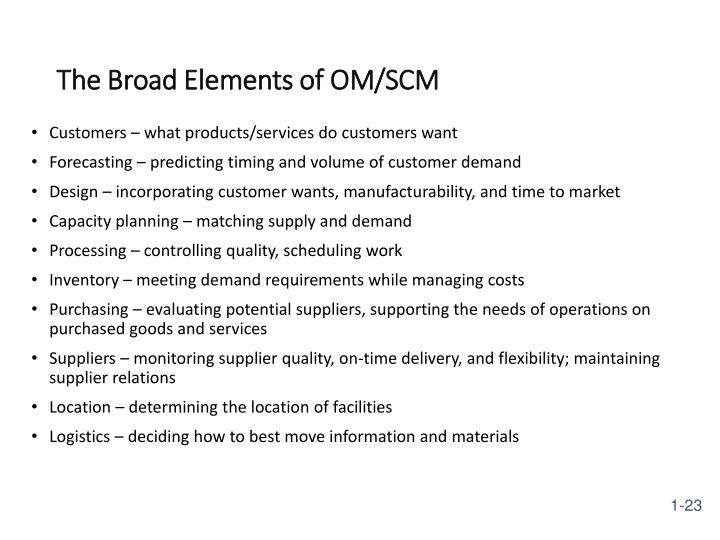 The Broad Elements of OM/SCM