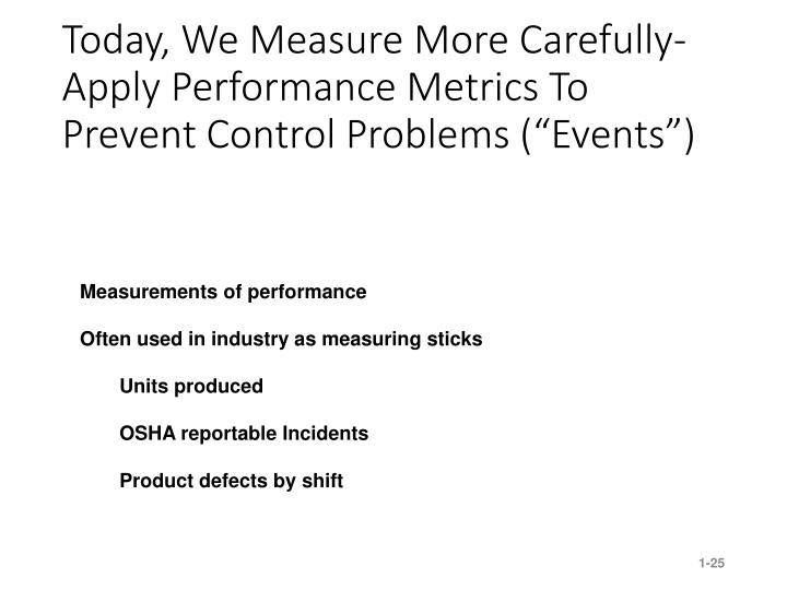 """Today, We Measure More Carefully- Apply Performance Metrics To Prevent Control Problems (""""Events"""")"""