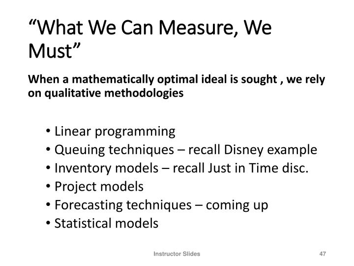 """""""What We Can Measure, We Must"""""""