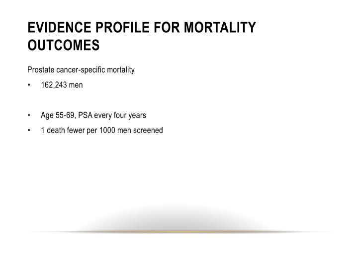 Evidence profile for mortality outcomes