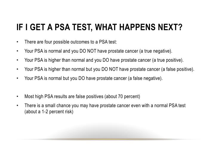 IF I GET A PSA TEST, WHAT HAPPENS NEXT?
