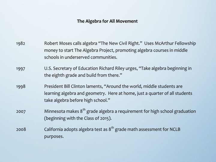 The algebra for all movement a progress report