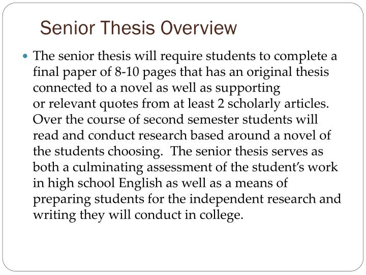 Senior Thesis Overview