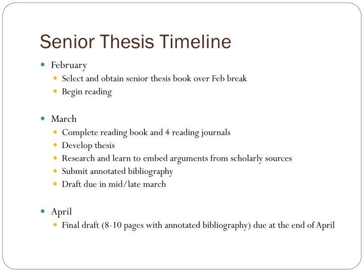 Senior Thesis Timeline