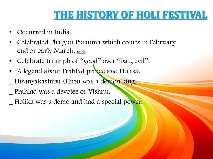 THE HISTORY OF HOLI FESTIVAL
