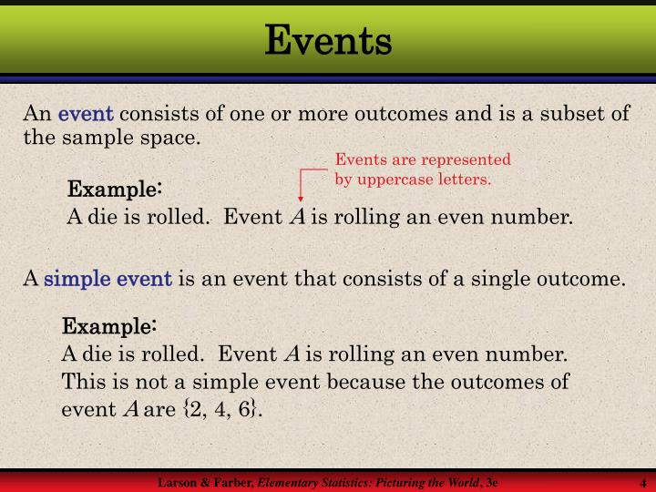 Events are represented by uppercase letters.