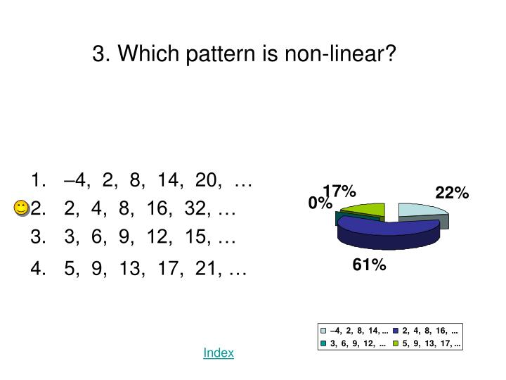 3. Which pattern is non-linear?