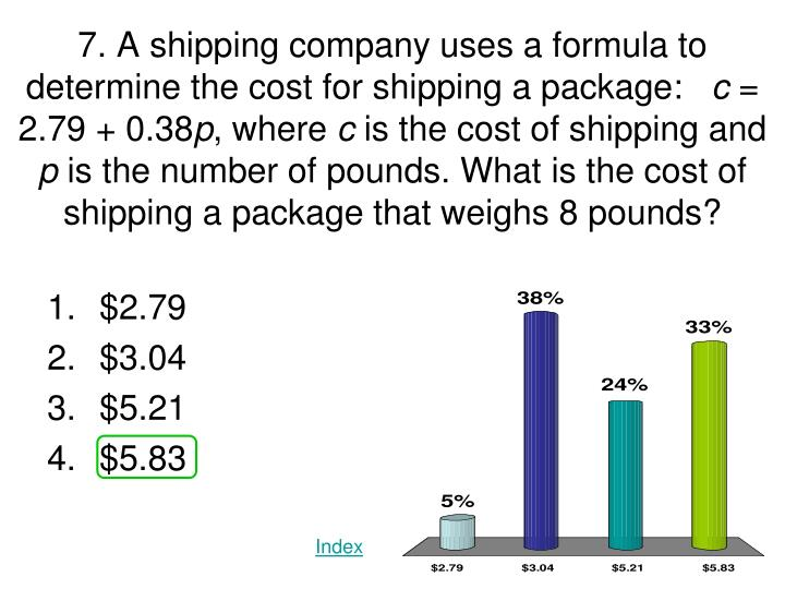 7. A shipping company uses a formula to determine the cost for shipping a package: