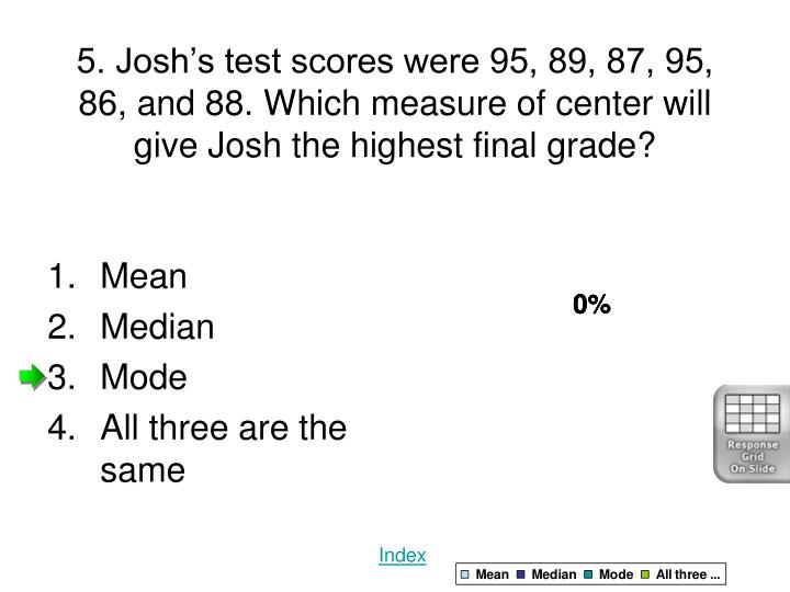 5. Josh's test scores were 95, 89, 87, 95, 86, and 88. Which measure of center will give Josh the highest final grade?