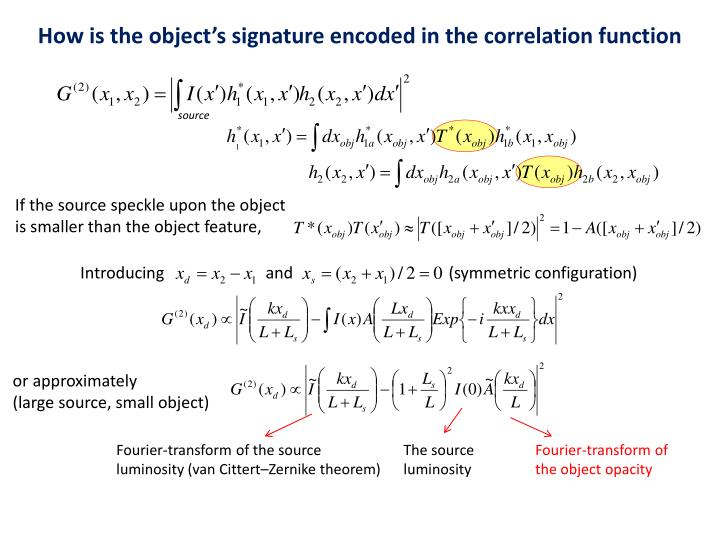 How is the object's signature encoded in the correlation function