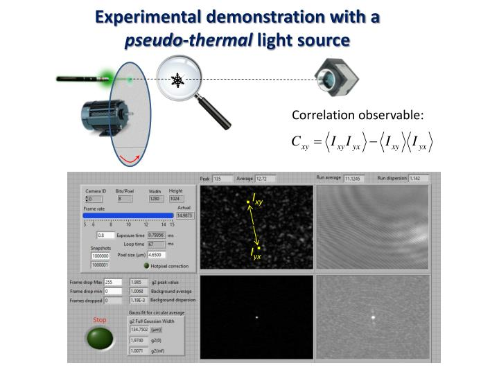 Experimental demonstration with a