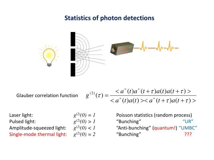 Statistics of photon detections
