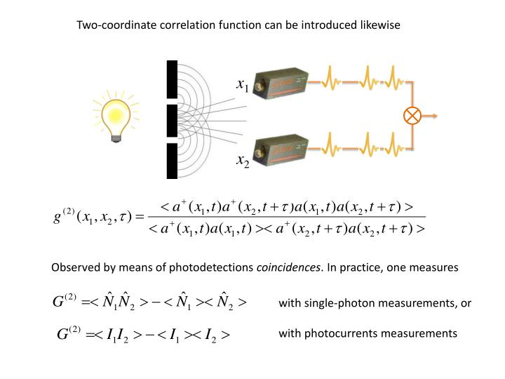 Two-coordinate correlation function can be introduced likewise