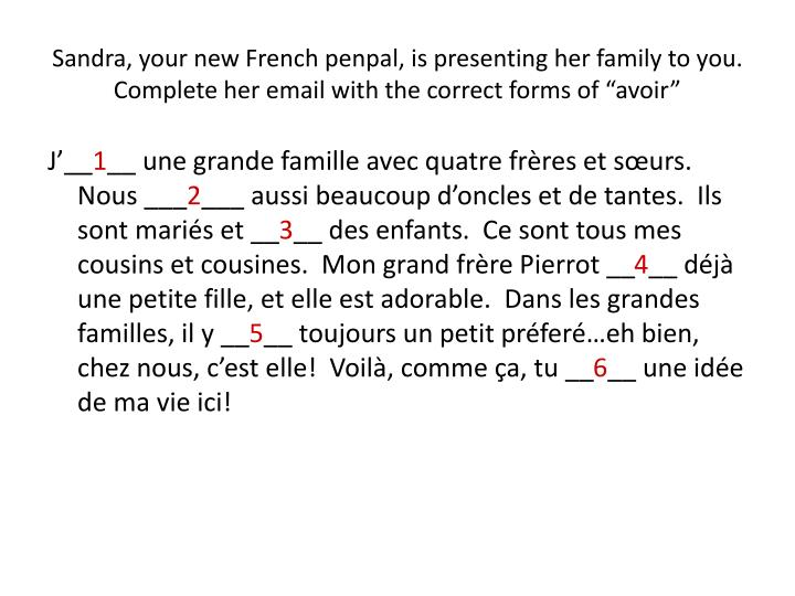 "Sandra, your new French penpal, is presenting her family to you.  Complete her email with the correct forms of ""avoir"""