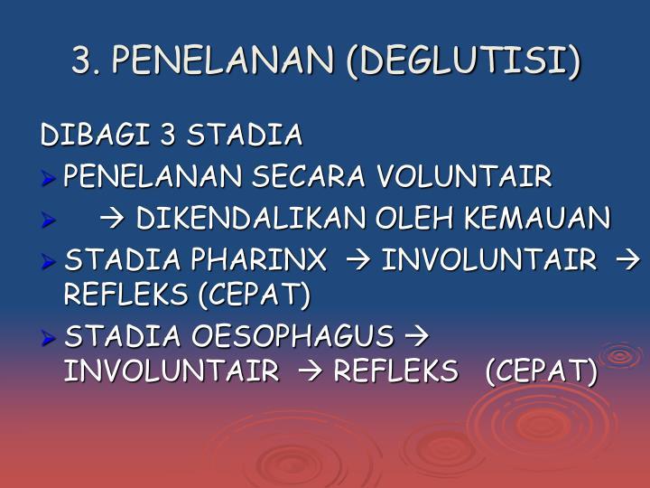 3. PENELANAN (DEGLUTISI)