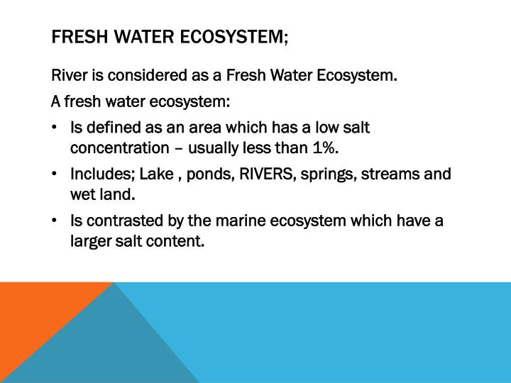 Fresh water ecosystem;