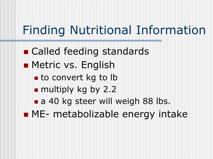 Finding Nutritional Information
