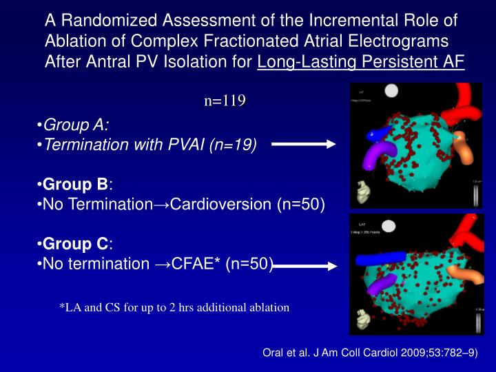 A Randomized Assessment of the Incremental Role of Ablation of Complex Fractionated Atrial Electrograms After Antral PV Isolation for